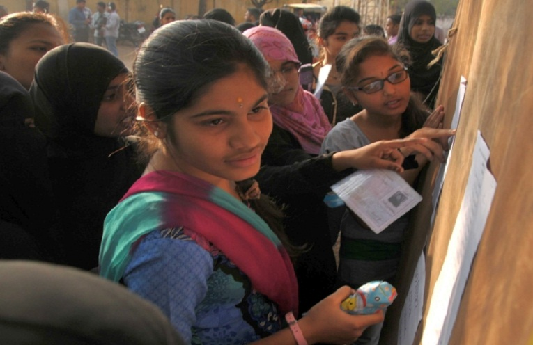 HYDERABAD: TELANGANA: 02/03/2016: Good luck: Intermediate students check out their hall ticket numbers outside an Intermediate Examination Centre at Mahbubia Girls High school in Hyderabad on Wednesday.  Photo: G. Ramakrishna